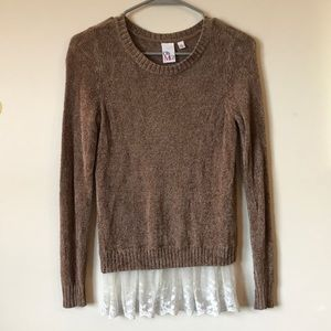Brown long sleeve sweater with white lace bottom